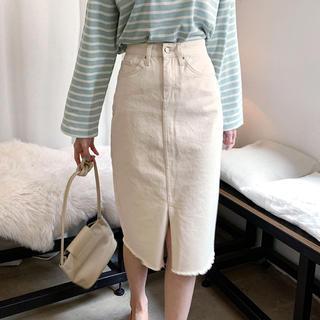 dholic - DHOLIC カットオフスカート クリーム色