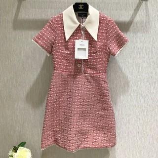 シャネル(CHANEL)のCHANEL セレブ淑女気質 ピンク ワンピース ミニスカート 36(ミニワンピース)