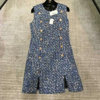 シャネル(CHANEL)の気質CHANEL ブルー ジャンパースカート  ワンピース 36(ひざ丈ワンピース)