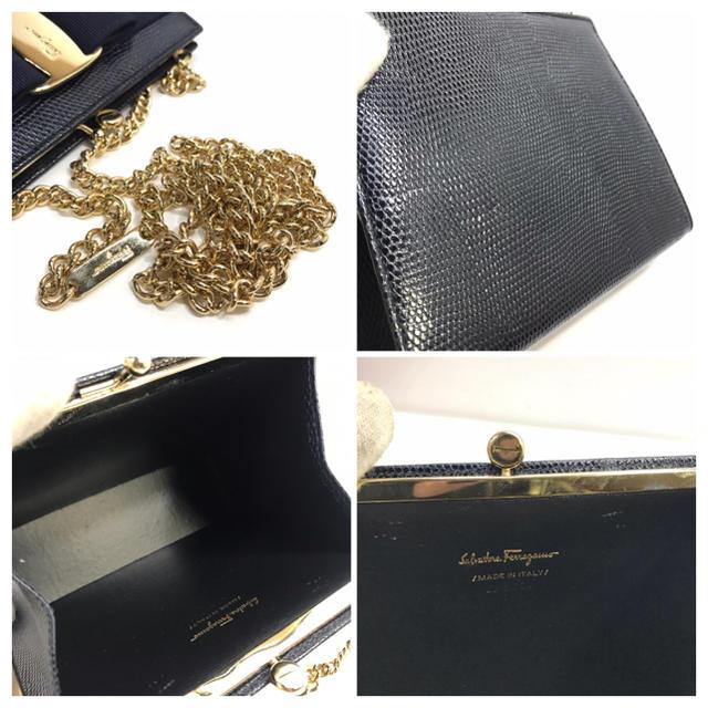 Salvatore Ferragamo(サルヴァトーレフェラガモ)の578 ほぼ未使用 フェラガモ  がま口 ショルダーバッグ 型押し レディースのバッグ(ショルダーバッグ)の商品写真