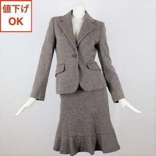 イネド(INED)のイネド スカート スーツ 7 ブラウン ツイード S 01 tqe ★新品同様★(スーツ)