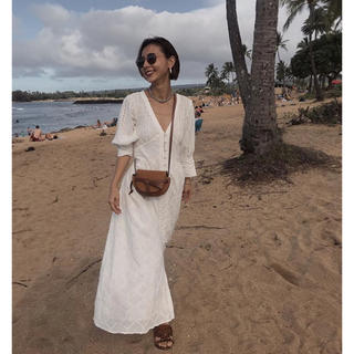 アメリヴィンテージ(Ameri VINTAGE)の美品 MEDI CRUMPLE COTTON LACE DRESS(ロングワンピース/マキシワンピース)