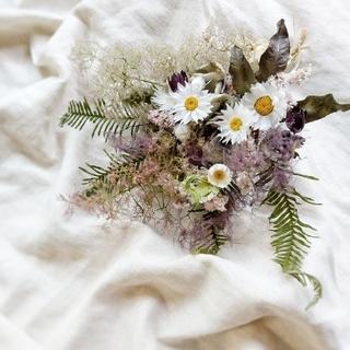 紫陽花とスモークツリーのブーケ風スワッグ(ドライフラワー)