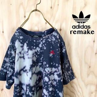 【希少】adidas 一点モノ ブリーチ リメイク アシンメトリー tシャツ