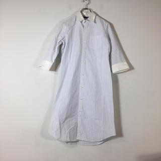 ラルフローレン(Ralph Lauren)のラルフローレン シャツワンピース 7分袖 ストライプ ホワイト サイズ11 丈長(ひざ丈ワンピース)