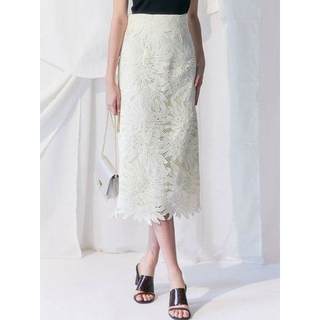 MERCURYDUO - ☆新品 MERCURYDUO リーフ柄ケミカルレースタイトスカート オフホワイト