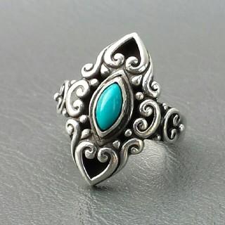 アンティーク風デザイン天然石ターコイズsilver925リング(リング(指輪))