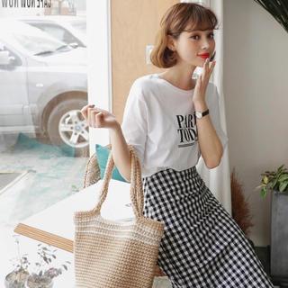 dholic - リネン混ギンガムチェックタイトスカート