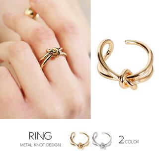 メタル結びデザインリング ゴールド シルバー(リング(指輪))