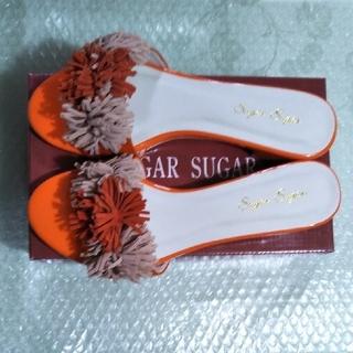 シュガーシュガー(Sugar Sugar)のシュガーシュガー フリンジサンダル LL オレンジ(約25cm)(サンダル)