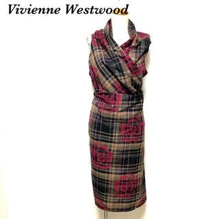 ヴィヴィアンウエストウッド(Vivienne Westwood)のVivienne Westwood  変形 巻きスカート 総柄 チェック柄(ひざ丈ワンピース)