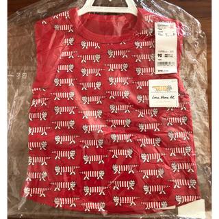 UNIQLO - 【新品】ユニクロ リサラーソン マイキー 赤×白Tシャツ 90
