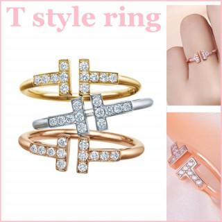 ローズゴールド レディース ジルコニア CZ ダイヤ リング 指輪 T字 (リング(指輪))