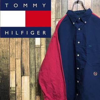 TOMMY HILFIGER - 【激レア】トミーヒルフィガー☆オールド刺繍ロゴ入りバイカラーシャツ 90s