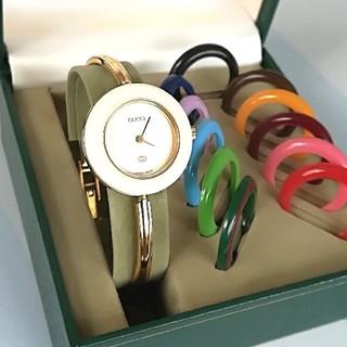 Gucci - 綺麗 グッチ チェンジベゼル 12色 レディース 時計 ウォッチ バングル 美品