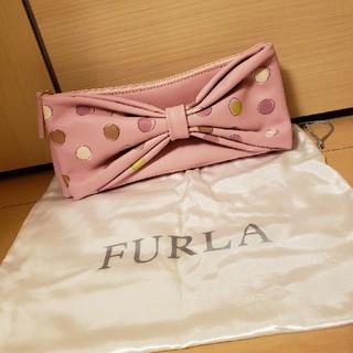 フルラ(Furla)の美品 FURLA りぼん ドット柄 クラッチバッグ(クラッチバッグ)
