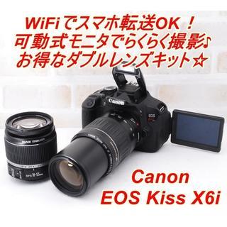 Canon - ★極上美品 WiFi転送OK! キヤノン  Kiss X6i Wレンズセット★