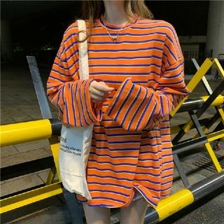 ※人気商品の為数量限定※ビックシルエット ボーダーロングTシャツフリーサイズ