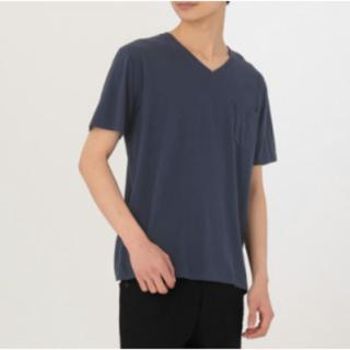 ムジルシリョウヒン(MUJI (無印良品))のオーガニックコットン 天竺 ポケット付き Vネック Tシャツ 紳士L ネイビー(Tシャツ/カットソー(半袖/袖なし))