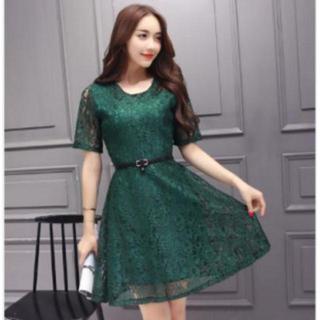 Aラインワンピース 総レース ドレス ベルト付き グリーン 緑 Lサイズ フレア(ミディアムドレス)