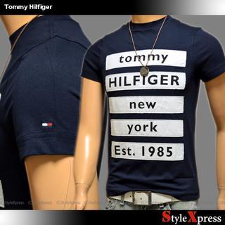 TOMMY HILFIGER - 新品 トミーヒルフィガー 紺 XS ロゴ布貼り付け Tシャツ Tommy