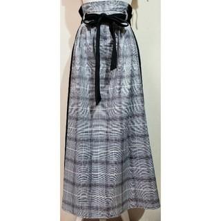 しまむら - しまむら グレンチェック柄切り替えロングスカート
