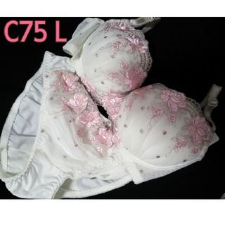 トリンプ(Triumph)の新品/トリンプ◆ブラジャーショーツセット◆白ピンク 花刺繍(ブラ&ショーツセット)
