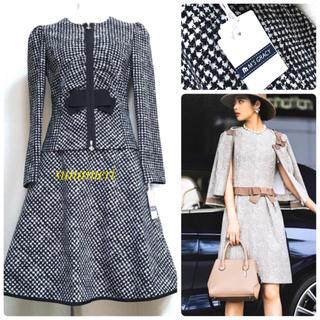 M'S GRACY - 6/19まで 新品タグ付き 千鳥格子 リボン wジップ ジャケット スカート