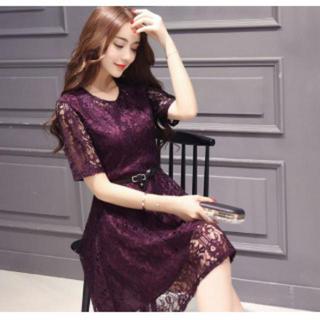 Aラインワンピース 総レース ドレス ベルト付き パープル 紫 Lサイズ(ミディアムドレス)