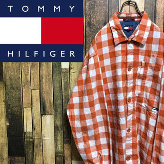 TOMMY HILFIGER - 【激レア】トミーヒルフィガー☆フラッグ刺繍ロゴビッグギンガムチェックシャツ90s
