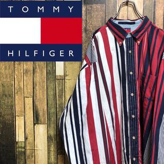 TOMMY HILFIGER - 【激レア】トミーヒルフィガー☆刺繍ロゴ入りマルチストライプビッグシャツ 90s