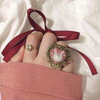 うさちゃんの幻想 リング 指輪 ハンドメイド ヴィンテージ アンティーク うさぎ(リング(指輪))
