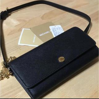 マイケルコース(Michael Kors)のMICHAEL KORS マイケルコース  チェーンウォレット財布 黒 ブラック(財布)