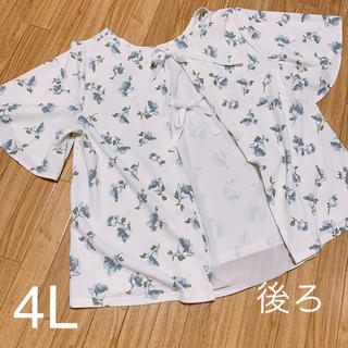 大きいサイズ バックリボン 花柄 トップス 4L(カットソー(半袖/袖なし))