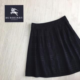 バーバリー(BURBERRY)のバーバリーロンドン チェック柄 スカート 40サイズ 黒(ひざ丈スカート)