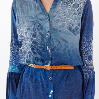 デシグアル(DESIGUAL)の新品 定価11900円 デシグアル シャツ ブラウス ブルー系 S、 Mサイズ(シャツ/ブラウス(長袖/七分))