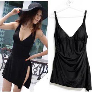 新品★3XL-★4(大きいサイズ)黒裾斜ラインワンピース水着/体型カバー(水着)