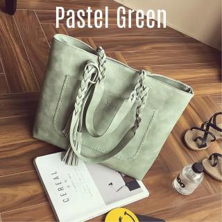 ハンドバッグ トートバッグ A4サイズ PUレザー 肩掛け 鞄 グリーン(トートバッグ)