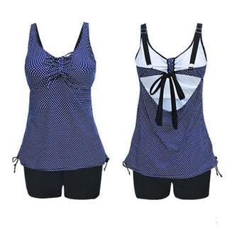 B142~150cm●(特大サイズ)紺ピンドットキャミソールXと黒パンツの水着(水着)