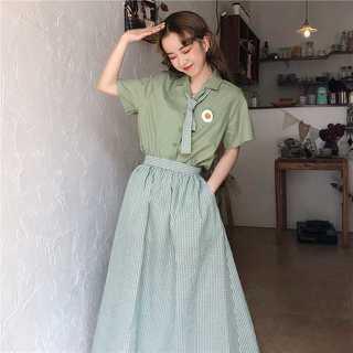 スカートシャツ2点セット レディース夏 新作可愛い きれいめMz011(ひざ丈スカート)