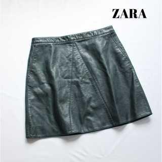ザラ(ZARA)のザラ ZARA★ストレッチ素材 フェイクレザーミニスカート L グリーン(ミニスカート)