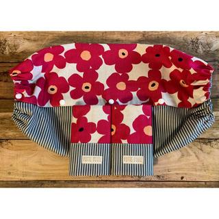 《北欧風花柄赤×ヒッコリー》抱っこ紐収納カバー&よだれカバー☆Lサイズ☆(外出用品)