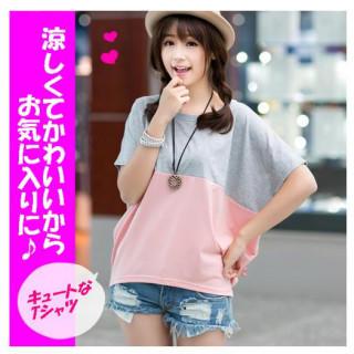 新品・激安!Tシャツ グレー ピンク バイカラー カットソ- 丸首 M(Tシャツ(半袖/袖なし))