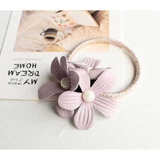 真珠の花柄 ヘアアクセサリー ヘアバンド レディース ヘアゴム 薄ピンク(ミニワンピース)
