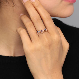 agete - agete k10 ダイヤモンド リーフ 透かし リング 11号 指輪 アガット