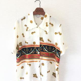 シャネル(CHANEL)の80s90s古着総柄シルクシャツビンテージ(シャツ/ブラウス(半袖/袖なし))