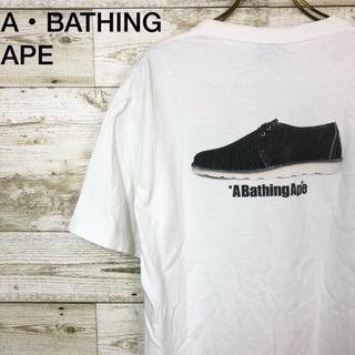 アベイシングエイプ(A BATHING APE)のアベイシングエイプ Tシャツ ロゴ 白 M 日本製(Tシャツ/カットソー(半袖/袖なし))