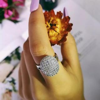◾️15号フルクリスタルファッションシャイニーシルバーリング(リング(指輪))