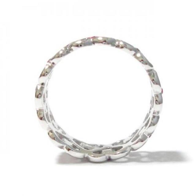 15号 全周ハート スワロフスキー ローズ シルバーリング レディースのアクセサリー(リング(指輪))の商品写真