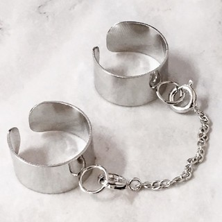 フリーサイズ チェーン付き 2連リング 指輪 シルバー(リング(指輪))